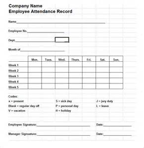 attendance form templates 5 time and attendance forms hr templates free