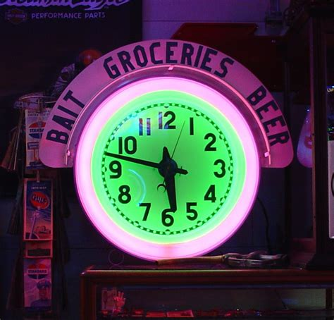 what were beer neon colors in the 50s and 60s electric neon clock company two colors cut out wood letters in top sign bait groceries