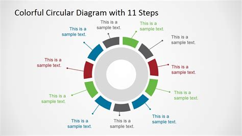 4 step segmented circular diagrams for powerpoint slidemodel colorful 11 steps circular diagram for powerpoint slidemodel