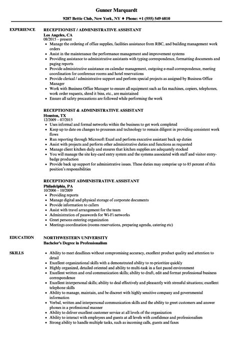 sle resume receptionist administrative assistant receptionist administrative assistant resume sles