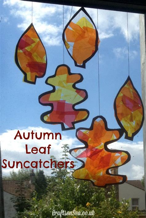 autumn leaf suncatchers crafts on sea