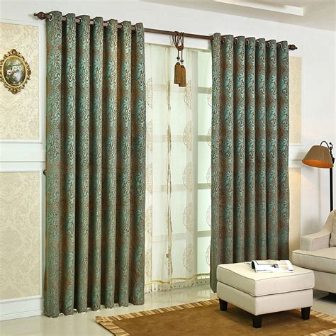 brown thermal curtains green and brown floral jacquard chenille thermal vintage