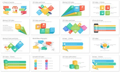 Infographics With Arrows And Cubes Presentationdeck Com Infographics In Powerpoint
