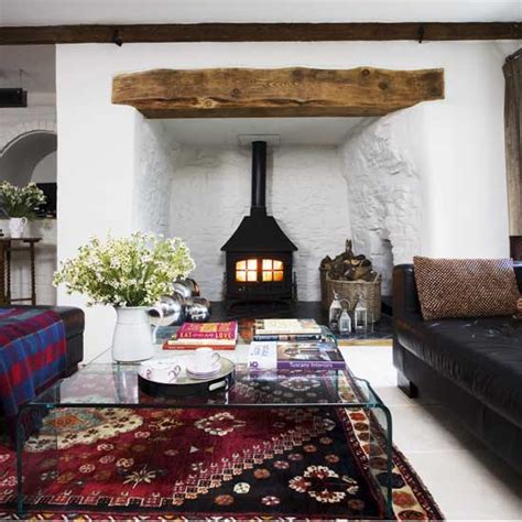 Living Rooms With Wood Burning Stoves Wood Burning Stove Living Room Ideal Home