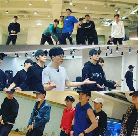exo yoo jae suk quot infinite challenge quot releases images of exo practicing