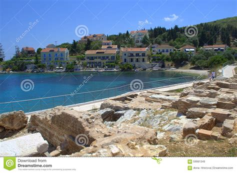 Beach Houses Plans by Ancient Ruins On Greek Island Coast Editorial Stock Image