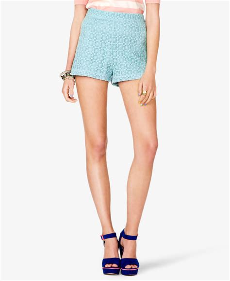 Forever21 Zipper Lace Skirt Branded forever 21 high waisted crochet lace shorts in blue aqua lyst