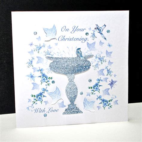 Is Handmade One Word Or Two - blue bird and font christening card decorque cards