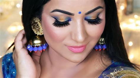 Indian Wedding Guest   Party Makeup Tutorial (Blue and