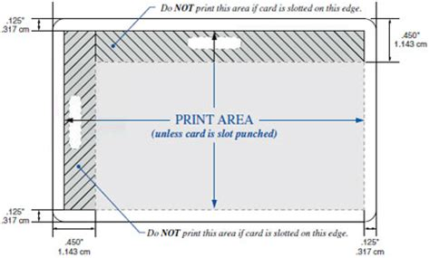 Printable Area Postcard | what part of my id card can i print on