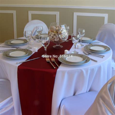 """Wholesale 10/lot burgundy Satin Table Runners 12"""" x 108"""