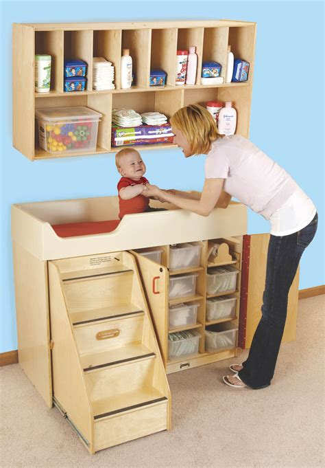 Wood Changing Table With Stairs Diaper Organizer Play Baby Changing Table Organizer