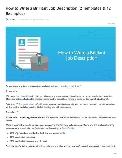 How To Write A Brilliant Job Description 2 Templates 12 Exles How To Write A Description Template