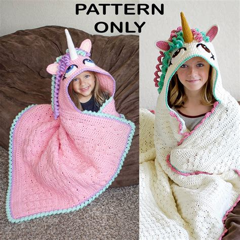 unicorn hood pattern crochet pattern hooded unicorn blanket pattern pdf file