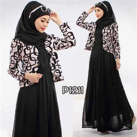 Dress Scuba Cantik by Baju Gaun Remaja P1211 Black Ethnic