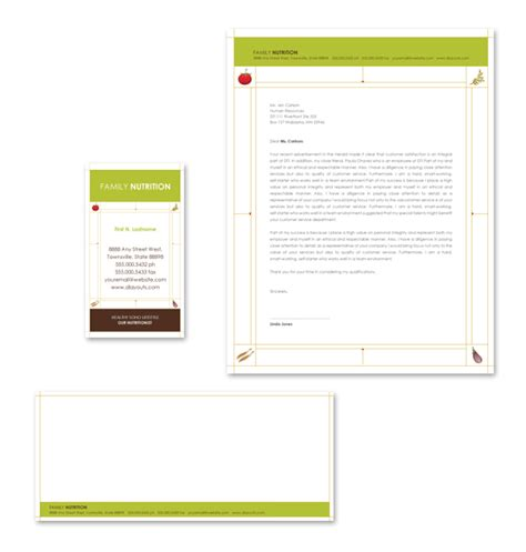 nutritionist stationery kits template
