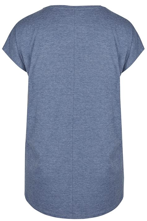 Dm Hem Junfy Blue blue studded jersey t shirt with curved hem plus size 16 to 36