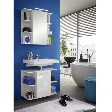 Blanco Wall Mounted Vanity Cabinet In White And High Gloss Blanco Bathroom Furniture