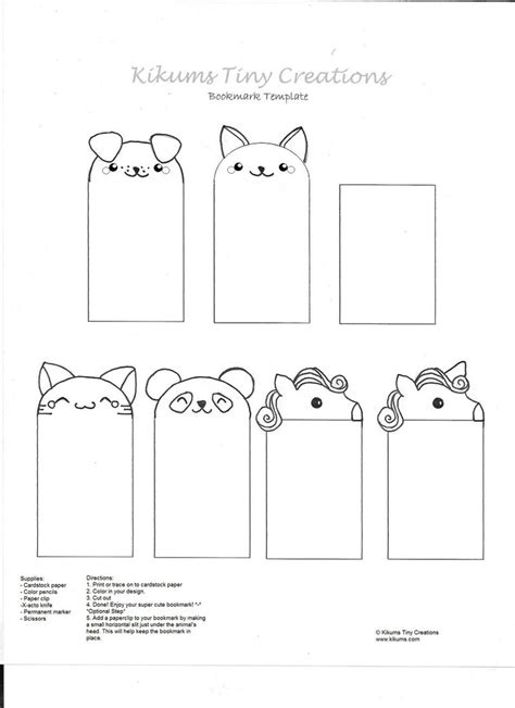 make a bookmark template kawaii bookmark free template by kikums on deviantart