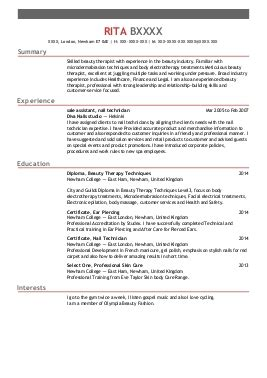 spa therapist cv exle therapy cv exles and spa cv s livecareer