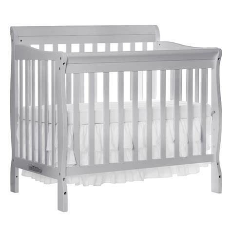 Grey Mini Crib On Me Aden 4 In 1 Convertible Mini Crib In Gray 628 G