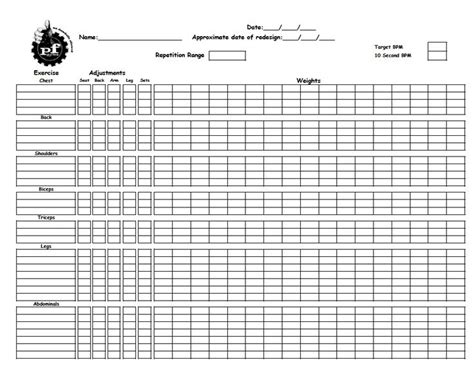 training worksheet to record gym workouts from planet