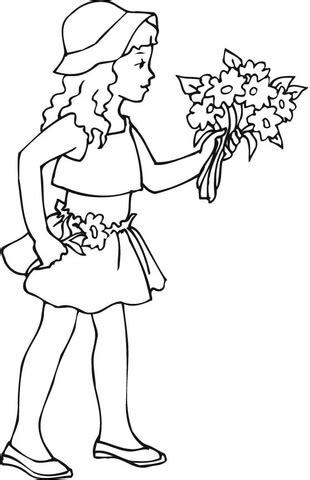 mazzo di fiori da colorare disegno di ragazza con mazzo di fiori da colorare