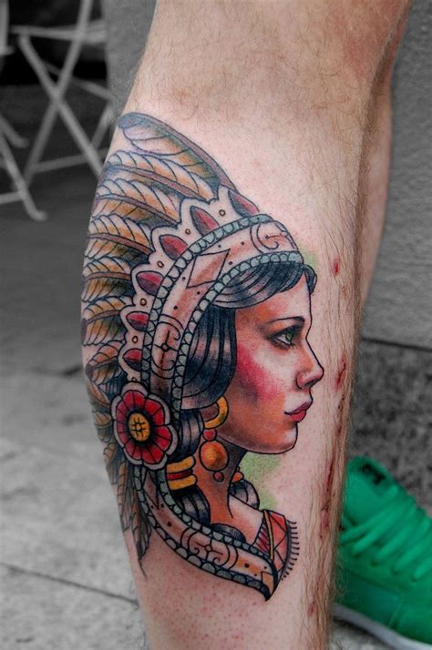 traditional woman tattoo indian by tattooneos portrait