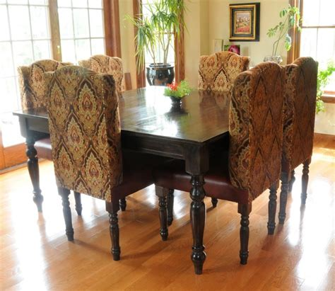 Custom Fabric Dining Chairs Custom Square Dining Table Leather Fabric Upholstered Parsons Dining Chairs Se Farmhouse