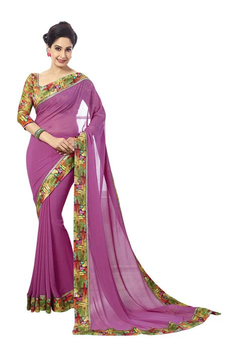 Blouse Bordir 1 buy pink color silk print border georgette saree with