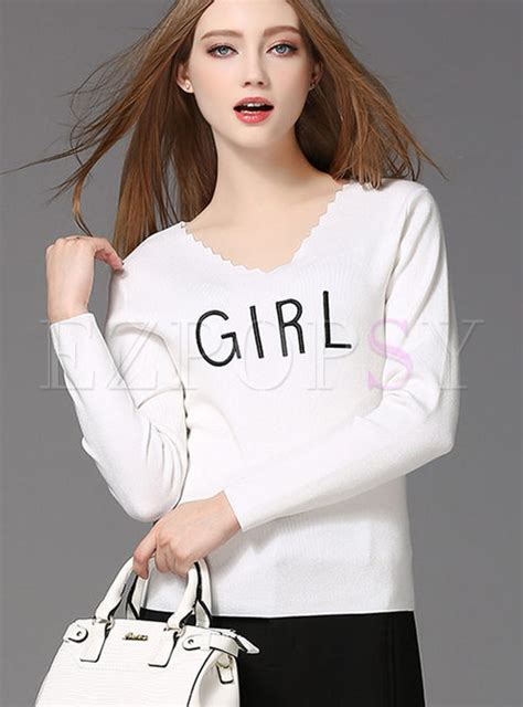 Neck Embroidered Sweater tops sweaters fashion brief v neck embroidered sweater