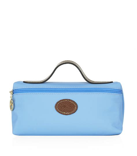longch le pliage medium cosmetic bag in blue camel lyst