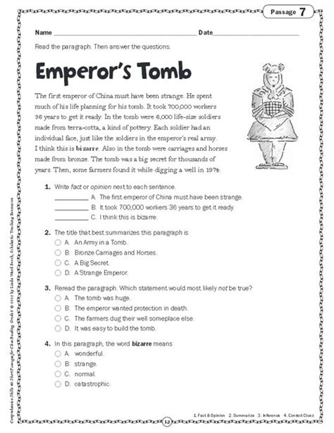 reading comprehension test for grade 5 comprehension skills short passages for close reading grade 5