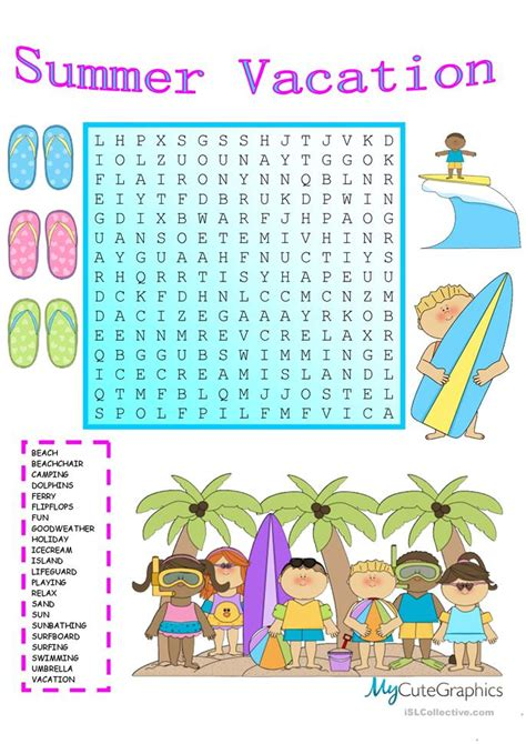 printable word search vacation summer vacation wordsearch with key worksheet free esl