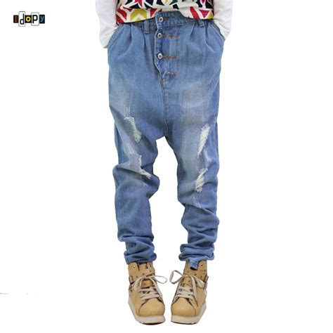 hip hop s low crotch 100 cotton acid washed faded blue baggy ripped distressed harem