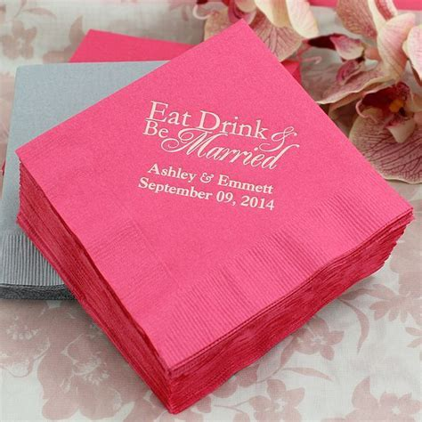 Classic Eat Drink and Be Married Cocktail Wedding Napkins