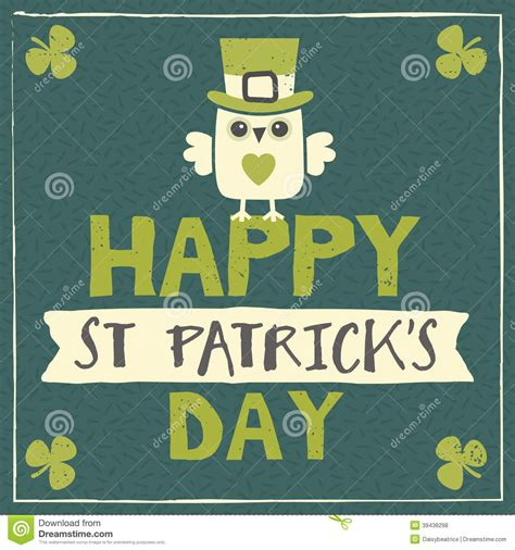 St S Day Photo Card Template by St Patricks Day Card With Leprechaun Owl Stock Vector