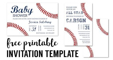 Baseball Party Invitations Free Printable Paper Trail Design Baseball Birthday Invitation Templates Free