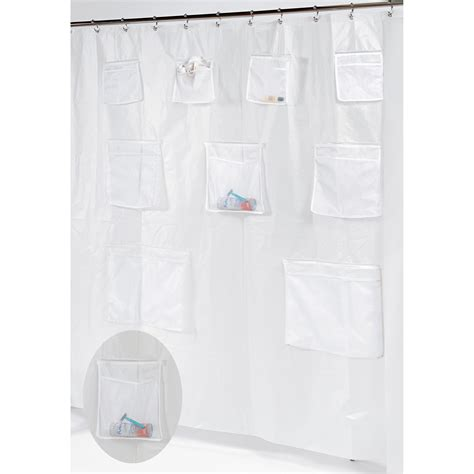 shower curtain with pockets carnation home fashions pockets peva shower curtain liner
