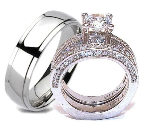 wedding rings set stainless steel titanium