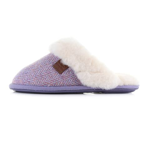 womens bedroom slippers womens bedroom athletics kate pink harris tweed sheepskin