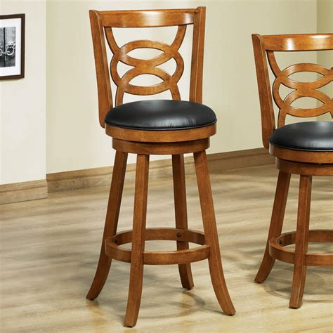 42in h swivel barstool in oak solid wood set of 2