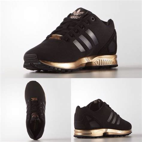 adidas zx flux black and gold sneakers