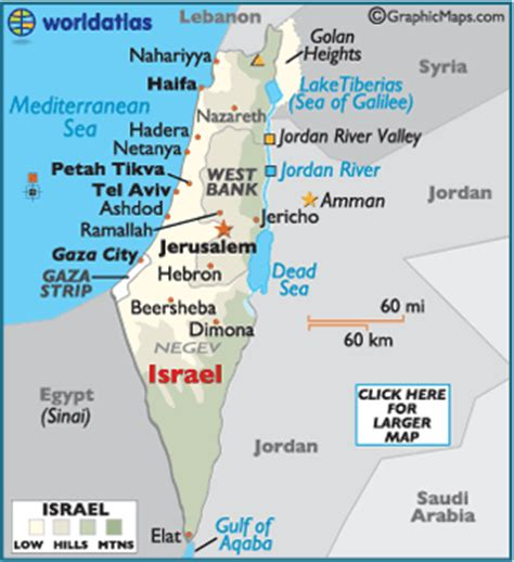 israel map / geography of israel / map of israel