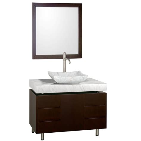 single bathroom vanity vessel sink shown with carrera white marble top and carrera white marble sink