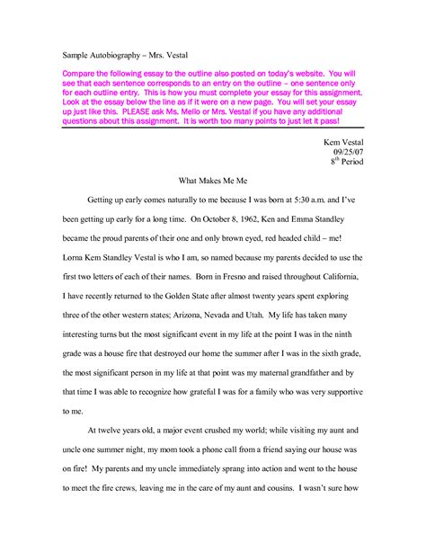 Exle Of A Biography Essay by Writing An Autobiography Essay