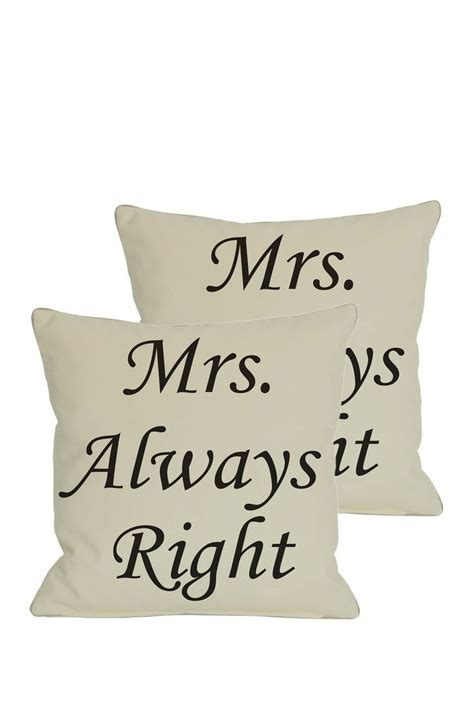 Mrs Always Right Pillow by Mrs Always Right Pillow F Is For And Friends