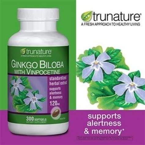 Gingko Biloba 30 Softgel trunature ginkgo biloba w vinpocetine120mg 300 softgels brain memory support ebay