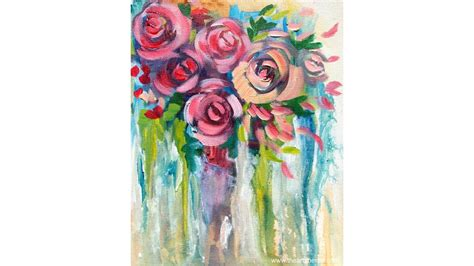 how to drip acrylic paint on canvas easy drip roses step by step painting on canvas for