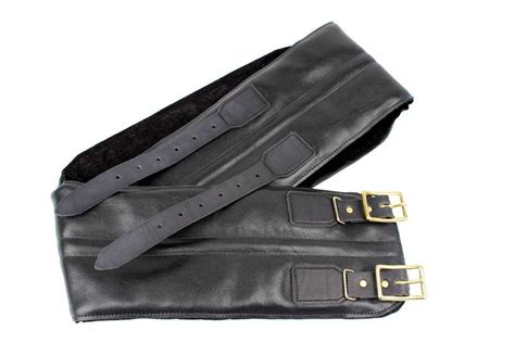 24helmets vintage kidney belt real leather black w brass